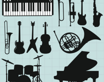 Heavy Metal clipart black and white Piano Clipart Jazz Instrument Saxophone
