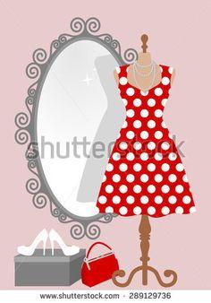 Heels clipart polka dot Stock woman pin up in
