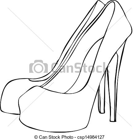 Heels clipart sketched Csp14984127 High Stylish Shoes Stiletto