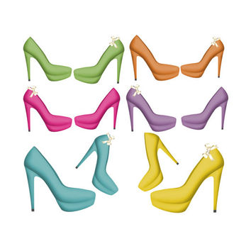 Heels clipart teal Digital Products Clipart Shoe Wanelo