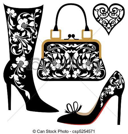 Shoe clipart handbag #3