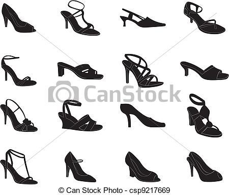 Heels clipart women's shoe  of paths of set
