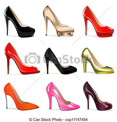 Heels clipart women's shoe  of women's of set