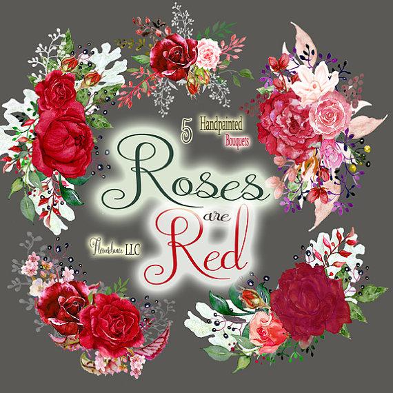 Heh clipart Watercolor digital is clip rose
