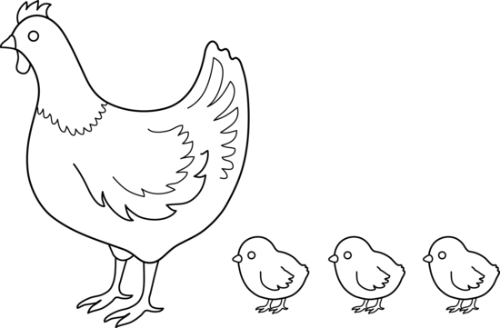 Line Art clipart hen Chick and clipart hens hen