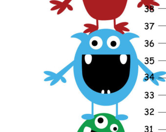 Heights clipart height chart Etsy Personalized Canvas Monsters Chart
