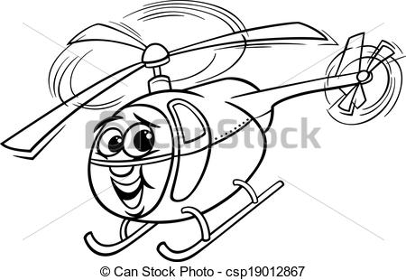 Black & White clipart helicopter For helicopter  of cartoon