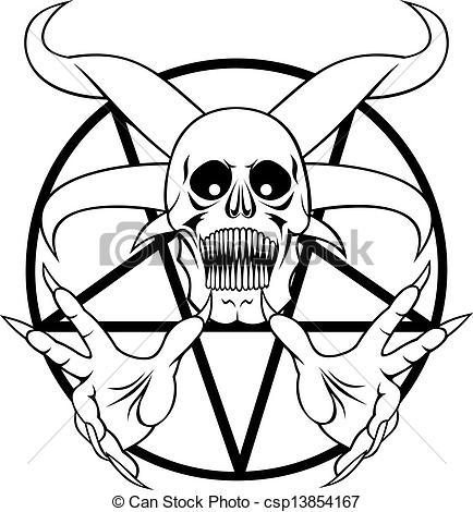 Pentagram clipart element The hell the Vector black