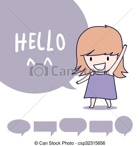 Hello! clipart say hello Girl and standing say hello