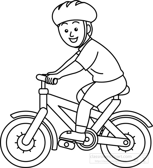 Ride clipart black and white Bicycle bw wearing helmet :