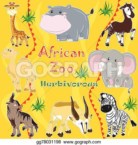 Herbivorous clipart Zoo of living Clipart Illustration