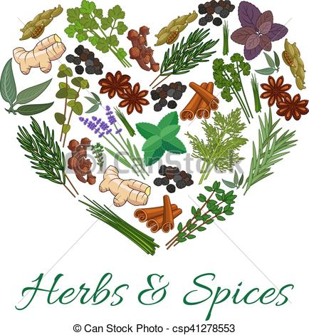 Herbs And Spices clipart different kind In shape in emblem and