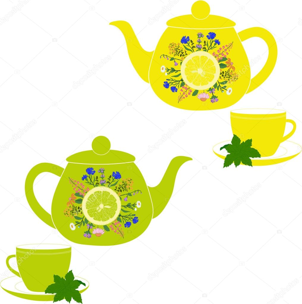 Herbs clipart teapot Herbs background and on a
