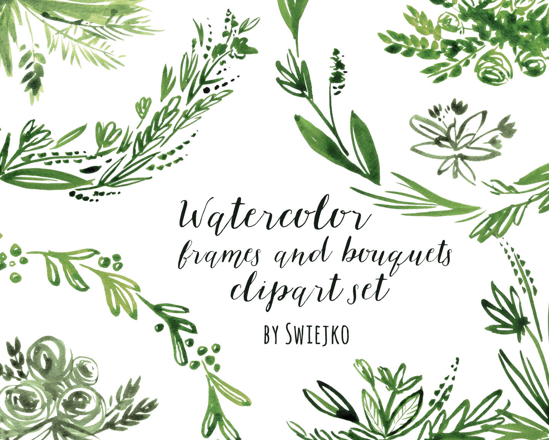 Herbs clipart watercolour Floral is digital Frame hand