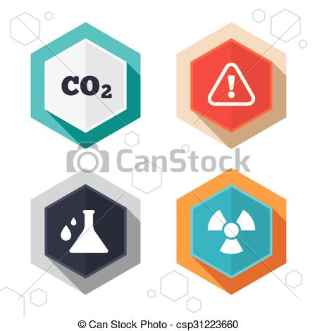Hexagon clipart chemistry Flask Vector flask of radiation