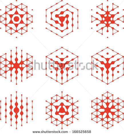 Hexagon clipart chemistry Halftone Abstract cell set hexagon