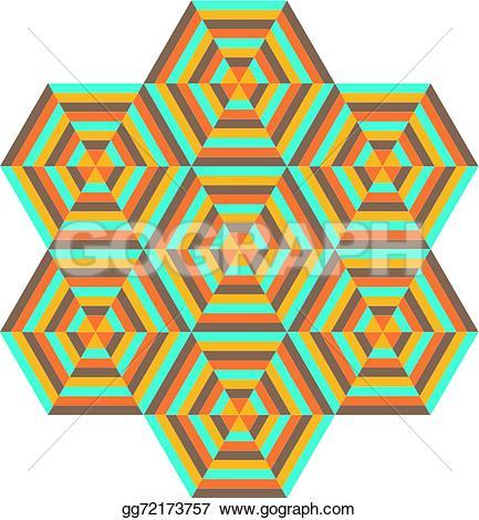 Color clipart geometric shape Clipart of hexagons different colors