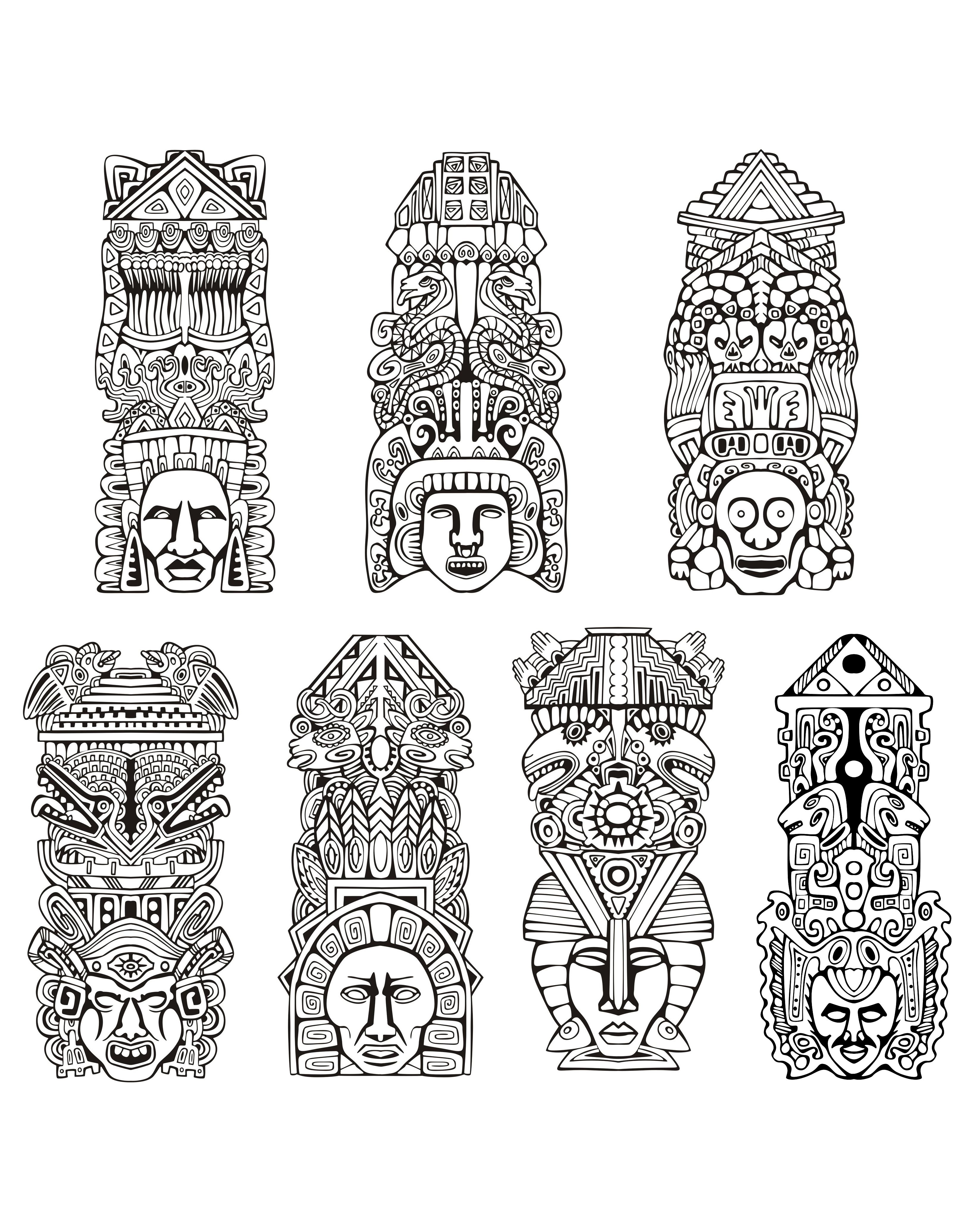 Totem Pole clipart mayan  coloring coloring inspiration Free