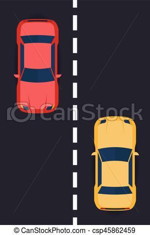 Asphalt clipart car road Concept with concept  top