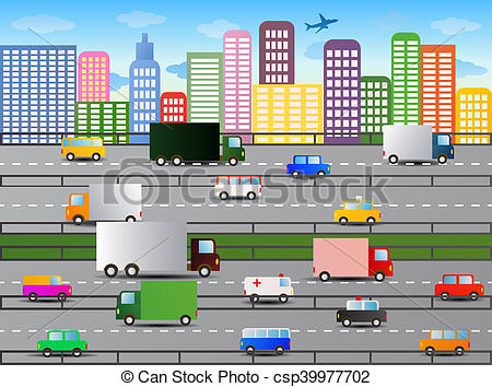 Highway clipart city traffic Illustration of city illustration traffic