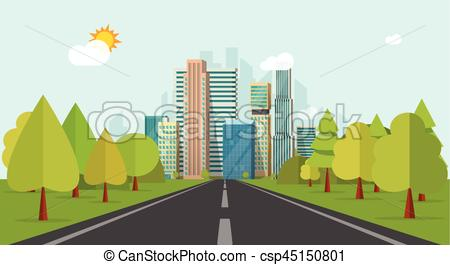 Highway clipart horizon Way to Road on vector