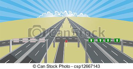 Highway clipart horizon Highway to highway Vector clouds