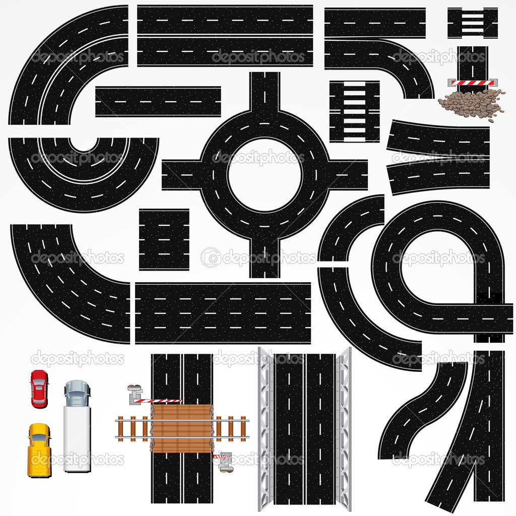 Highway clipart road map Road road collections clipart Vector