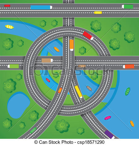 Highway clipart road traffic Road Traffic EPS easy to