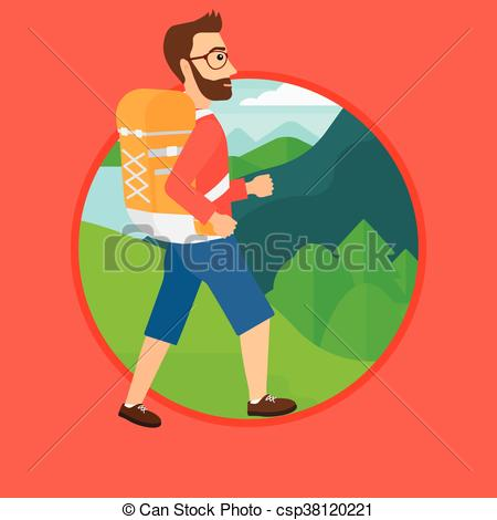 Hiking clipart beard Hipster A backpack with Illustration