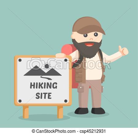 Hiking clipart beard  beside standing fat csp45212931