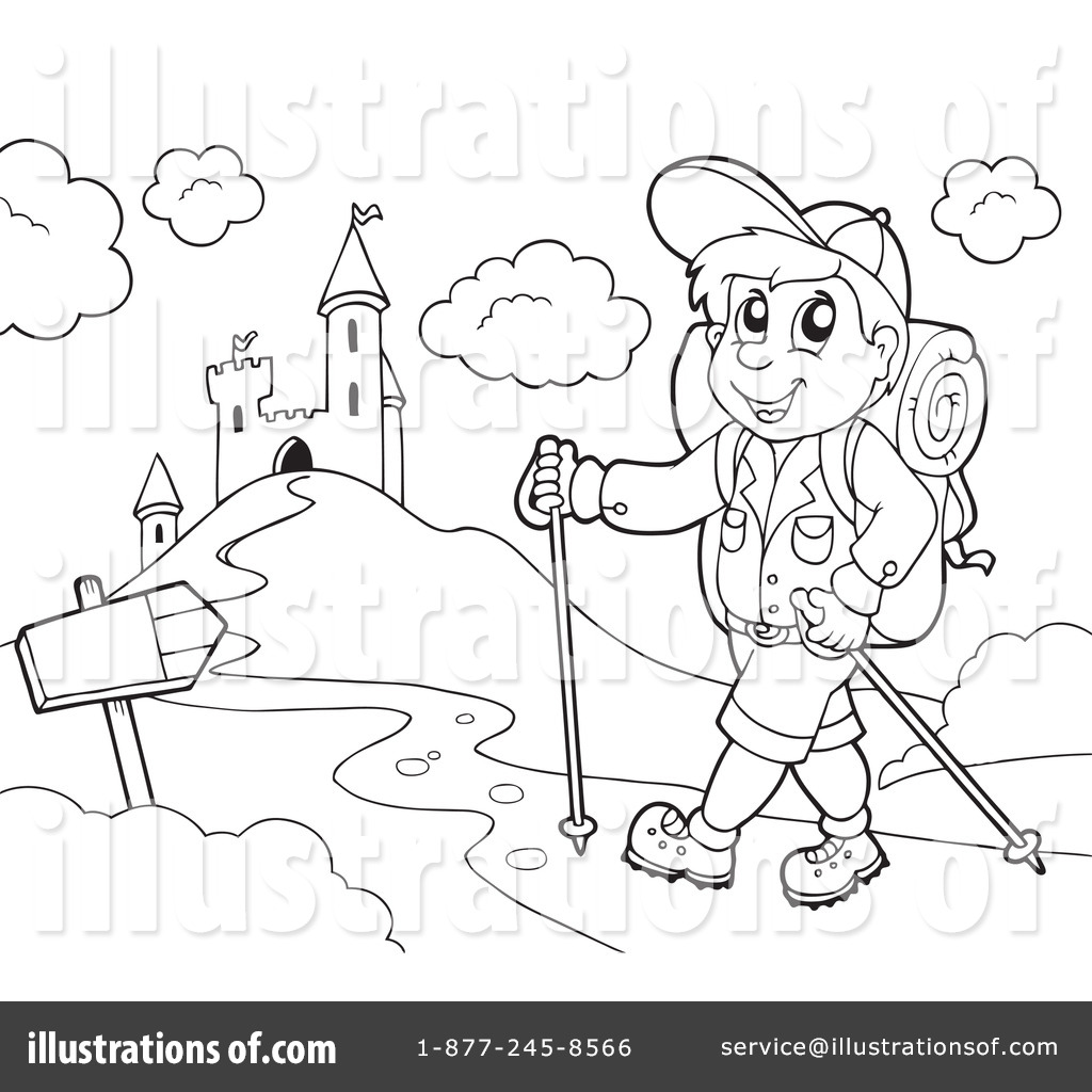 Hiking clipart black and white #1070182 Clipart (RF) Clipart visekart