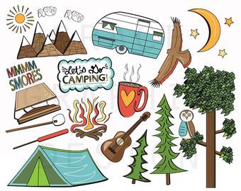 Camping clipart survivor Etsy camper illustrations instant CLIPART