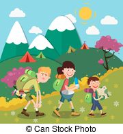 Hiking clipart family hike The on the Mountains Happy