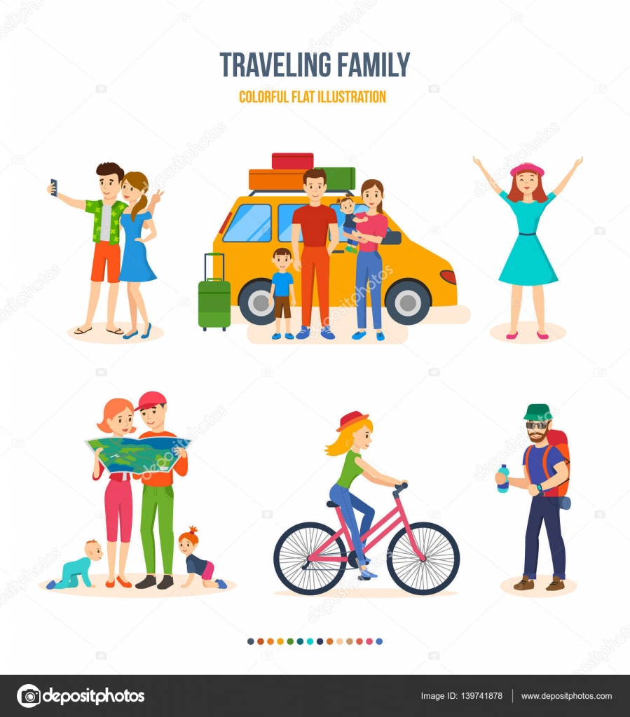 Hiking clipart journey Route  family Colorful bike