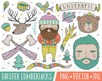 Hiking clipart journey Hiking Hipster Set Art Clipart