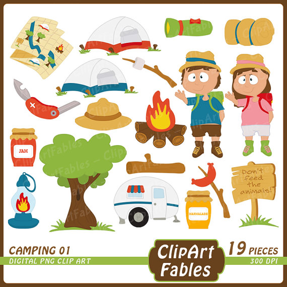 Hiking clipart kid campfire CAMPING Studio clipartfables on graphics