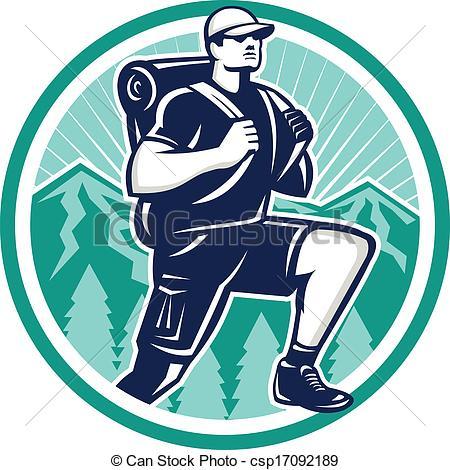 Hiking clipart logo Hiking a Retro Mountain Mountain