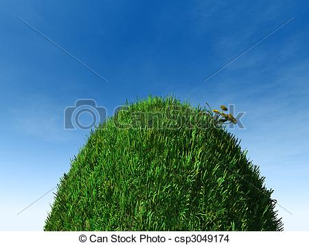 Drawn hill grassy hill A grass round and Hill