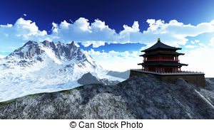 Himalaya clipart mountain background Illustrations temple  Buddhist royalty