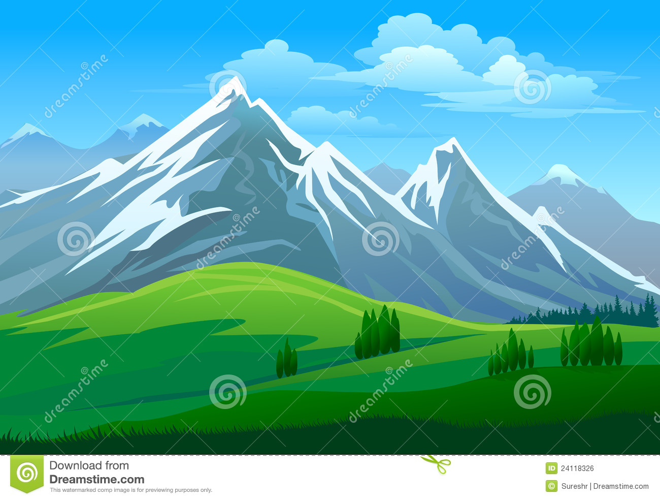 Scenery clipart mountain valley #3
