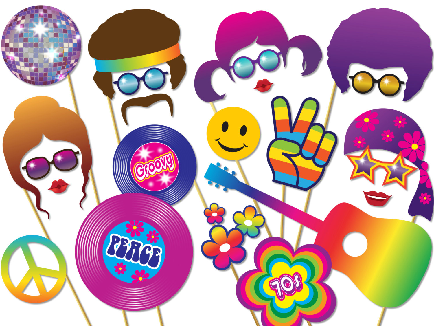Peace clipart flower power Props Photo Download Booth Set