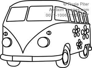 Vans clipart black and white And Black White Hippie Van