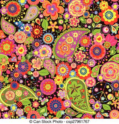 Hippies clipart colorful Floral Art hippie csp27961767 Colorful