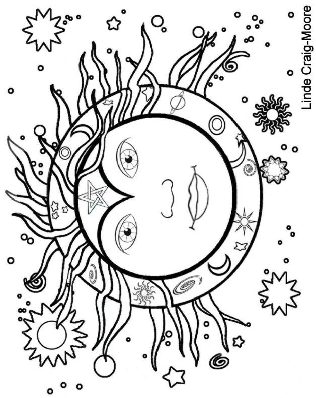 Moon clipart coloring book #2