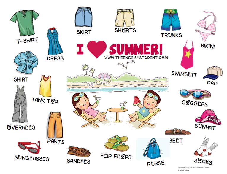 Coture clipart esl Ideas on summer vocabulary ESL