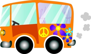Flower with Image: Hippie Bus
