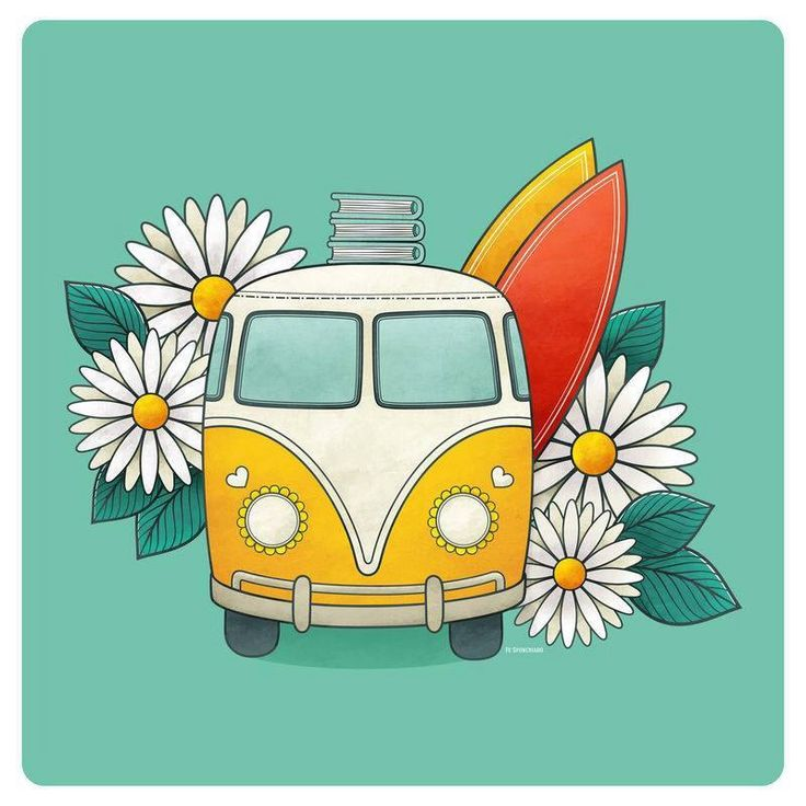 Hippies clipart kombi On sunflowers Different color away