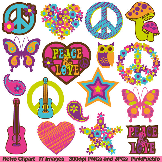 Party clipart 70's Personal and Hippie Retro 60s