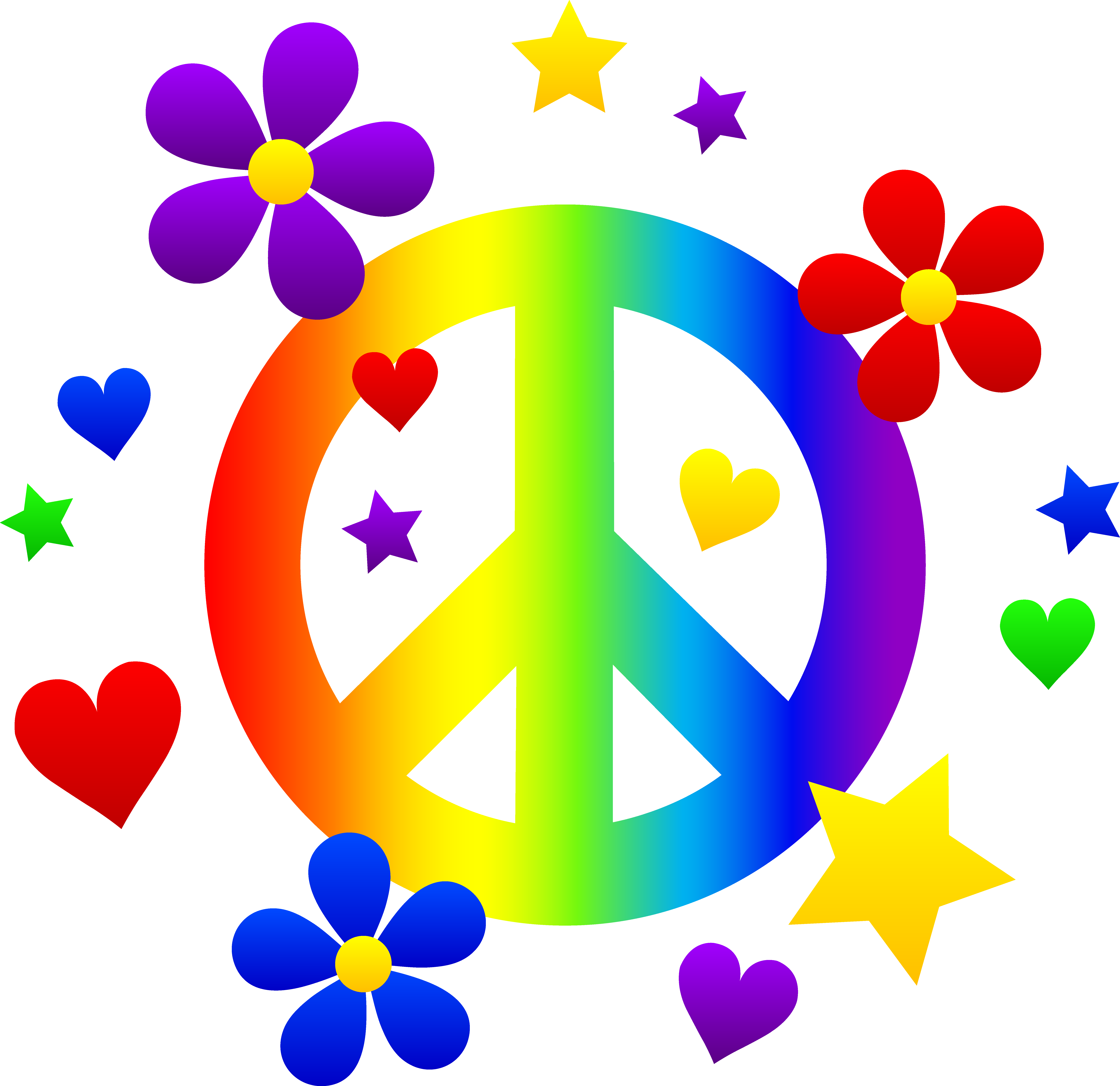 Zebra clipart peace sign Hippies Retro sign flowers with
