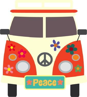 Hippies clipart colorful Buses signs on flowers 1960s